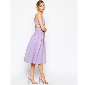 ASOS Crop Top Midi Debutant Scuba Dress in Lilac